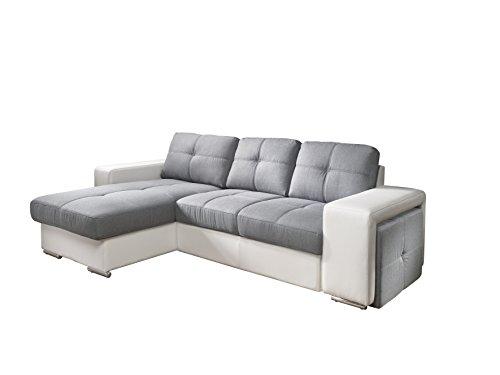 Cotta C209661 C311/D200 Polsterecke mit Schlaffunktion und Bettkasten, Kunstleder, 157 x 278 cm, weiß/Strukturstoff Grau