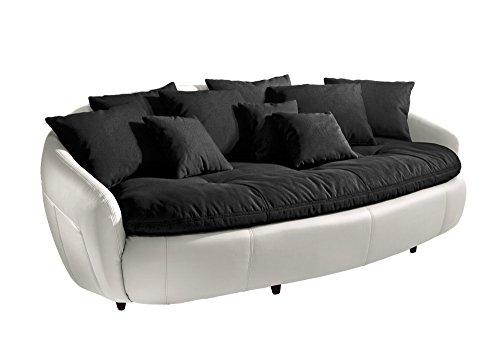 Cotta M010530 C310/H350 Modernes Megasofa, Sitzkissen und Rückenkissen 238 x 140 cm, Strukturstoff Schwarz, Korpus in Weichem Kunstleder weiß