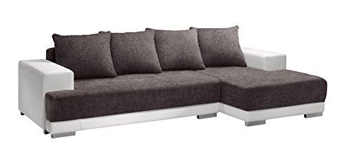 Cotta M592431 F180 D200 Polsterecke mit Schlaffunktion, Kunstleder weiß mit Strukturstoff Braun, 251 x 150 cm