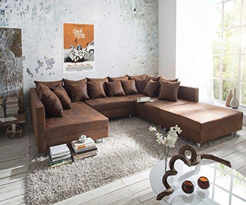 Sofa Clovis erweiterbares Modulsofa Eckcouch Wohnlandschaft (Sofa mit Hocker, Braun)