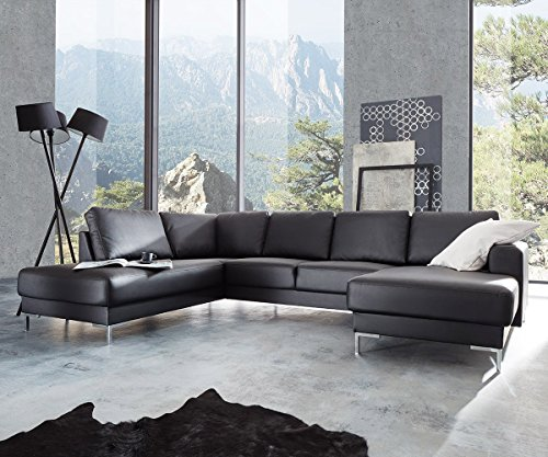 DELIFE Couch Silas Schwarz 300x200 cm Ottomane Links Designer Wohnlandschaft
