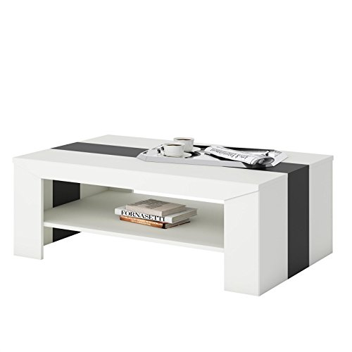 CARO-Möbel Couchtisch Wohnzimmertisch Marlen in Weiß/Schwarz 110 x 70 cm