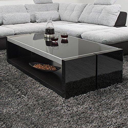 couchtisch schwarz hochglanz mit glasplatte evo 130x70cm glastisch aluminium geb rstet m bel24. Black Bedroom Furniture Sets. Home Design Ideas