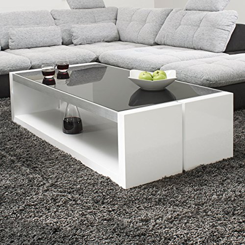 couchtisch wei hochglanz mit glasplatte evo 130x70cm glastisch aluminium geb rstet m bel24. Black Bedroom Furniture Sets. Home Design Ideas
