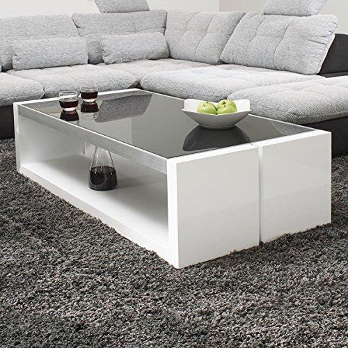 couchtisch wei hochglanz mit glasplatte evo 130x70cm. Black Bedroom Furniture Sets. Home Design Ideas
