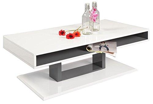 kawola couchtisch mattia hochglanz weiss lackiert ablage und gestell grau lackiert m bel24. Black Bedroom Furniture Sets. Home Design Ideas