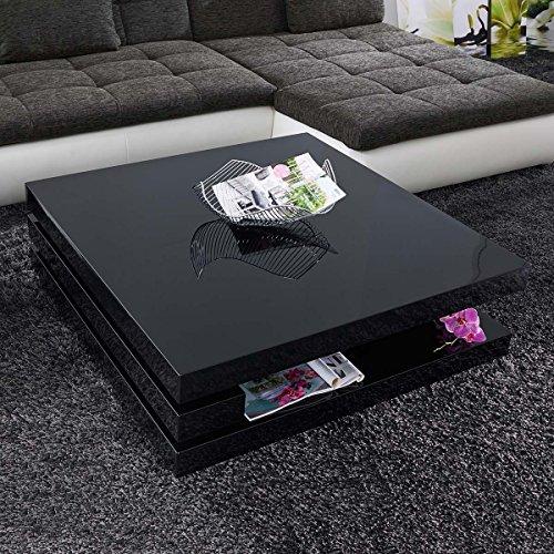 Couchtisch schwarz Hochglanz quadratisch Piazza 100x100cm