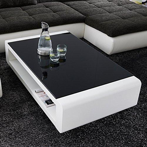 couchtisch wei hochglanz mit glasplatte soleil 140x80cm. Black Bedroom Furniture Sets. Home Design Ideas