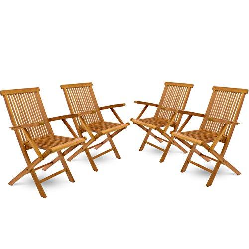 divero 4er set klappstuhl teakstuhl gartenstuhl teak holz stuhl mit armlehne f r terrasse balkon. Black Bedroom Furniture Sets. Home Design Ideas