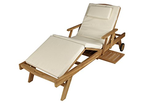 DIVERO Luxus Relaxliege aus Teakholz Verstellbar mit Auflage mit Kopfteil Creme