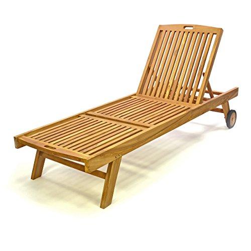 Divero Sonnenliege Gartenliege Relaxliege Liege Holzliege Teak Holz behandelt für Garten Terrasse Balkon Sauna witterungsbeständig Massiv