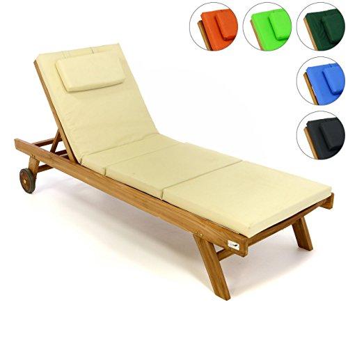 Divero Set Sonnenliege Holzliege Gartenliege Teak-Holz inkl. Räder verstellbares Kopfteil + Liegen-Auflage vierteilig Wasserabweisend Creme