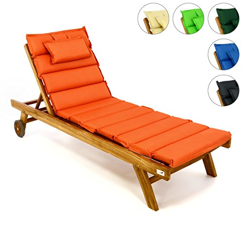 Divero Set Sonnenliege Holzliege Gartenliege Teak-Holz inkl. Räder verstellbares Kopfteil + Liegen-Auflage elfteilig aufrollbar Wasserabweisend Orange