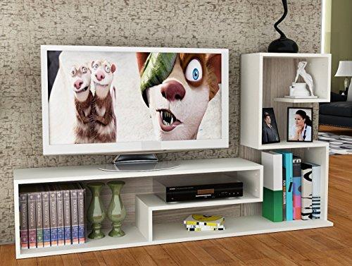 wohnwand duchess wei avola tv lowboard mit regale. Black Bedroom Furniture Sets. Home Design Ideas
