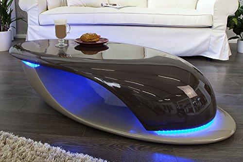 Design Couchtisch DISTRICT coffee greige Hochglanz inkl. blauer LED Beleuchtung 130cm