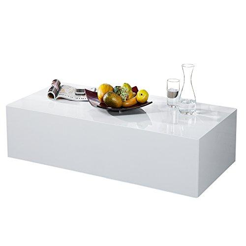 Design Couchtisch MONOBLOC XL 100cm hochglanz weiss  MÖBEL24