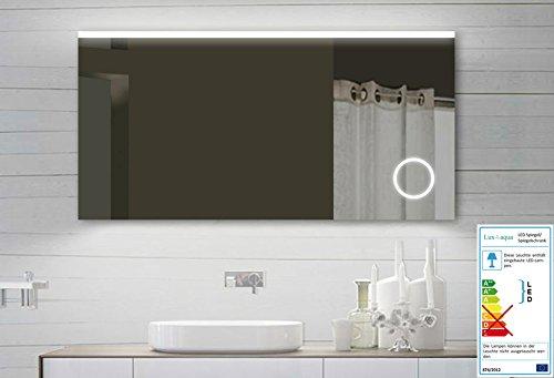 design led badezimmerspiegel badspiegel lichtspiegel mit schminkspiegel mit beleuchtung 140x60. Black Bedroom Furniture Sets. Home Design Ideas