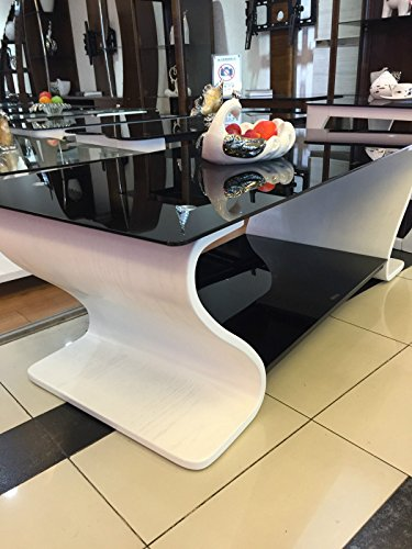 designer beistelltisch aus holz wei mit schwarz glas m bel24. Black Bedroom Furniture Sets. Home Design Ideas