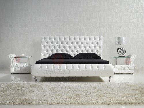 i flair designer bett amd0w 200cm x 200cm wei mit kunstlederkn pfen m bel24. Black Bedroom Furniture Sets. Home Design Ideas