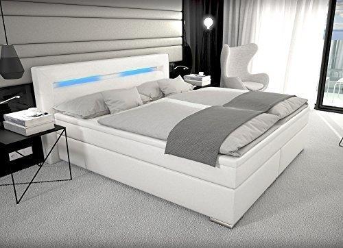 designer boxspring bett mit led beleuchtung 180x200 cm farbe weiss mit matratze leder bett. Black Bedroom Furniture Sets. Home Design Ideas