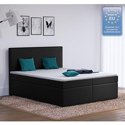 Designer Boxspringbett 160x200 Doppelbett Polsterbett Bett Hotelbett Stoff (schwarz 160x200)