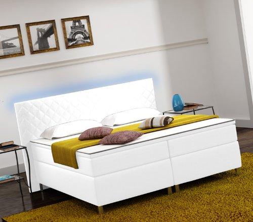 Designer Lederlook Boxspringbett mit LED Beleuchtung Hotelbett Doppelbett Polsterbett Ehebett amerikanisches Bett Modell Paris Typ 3 (180x200)