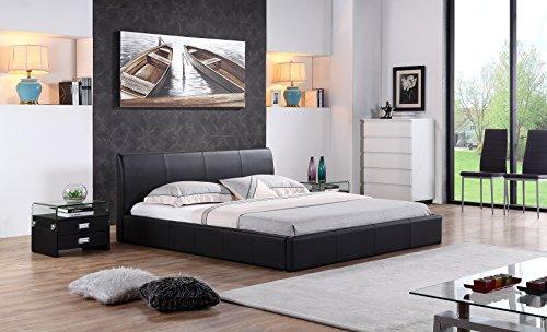 i-flair - Designer Polsterbett, Bett Monaco 160cm x 200cm Schwarz - Alle Farben & Größen