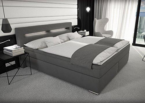 designer stoff boxspring bett mit led beleuchtung 180x200 cm farbe grau mit matratze stoffbett. Black Bedroom Furniture Sets. Home Design Ideas