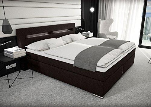 designer stoff boxspring bett mit led beleuchtung 180x200 cm vintage style farbe schwarz braun. Black Bedroom Furniture Sets. Home Design Ideas