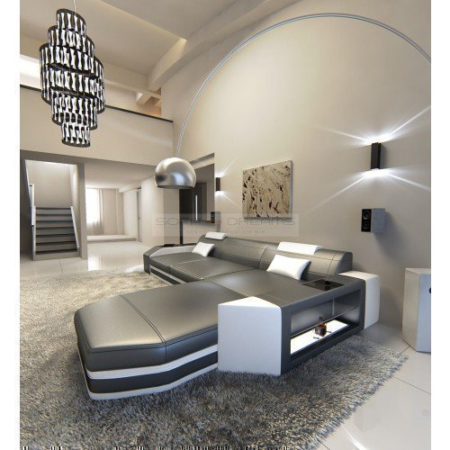 ledersofa prato l form grau weiss ecksofa design sofa m bel24. Black Bedroom Furniture Sets. Home Design Ideas