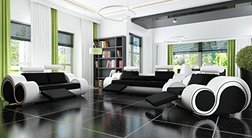 designersofa sofagarnitur sofa couch polster garnitur ledersofa 3 2 1 berlin mit relaxfunktion. Black Bedroom Furniture Sets. Home Design Ideas