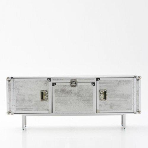 Diesel Total Flightcase Sideboard, weiß Beton 2 Türen 1 Barfach 3 Einlegeböden 180x72x45cm Aluminium Mehrschicht-Laminat