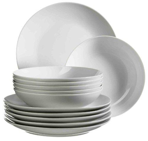 MÄSER Serie Barca, Tafelservice 12-teilig, Tellerset für 6 Personen, weiß, Porzellan