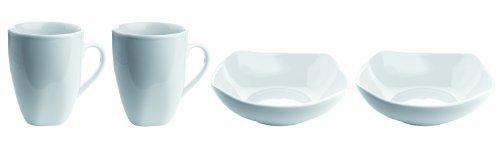 MÄSER Serie Cosmo, 2 Kaffeebecher + 2 Müslischalen, Porzellan Frühstücks-Set im 4er-Set