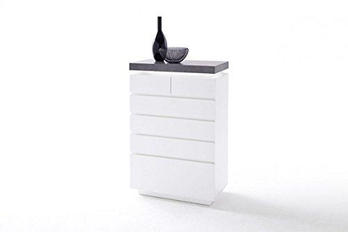 Dreams4Home Kommode 'Sharun I' - Schrank, Kommode, Konsole, Sideboard, Highboard, Aufbewahrung, B/H/T: 73 x 40 x 113 cm, in matt weiß lackiert, Beton Dekor, inkl. Infrarot LED