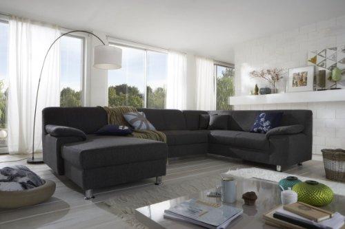 Dreams4Home Polsterecke Laguna Sofa Wohnlandschaft Couch U-Form Schlaffunktion grau strukturiert, Ausfühung Anschlag:Mit Schlaffunktion - Ottomane rechts