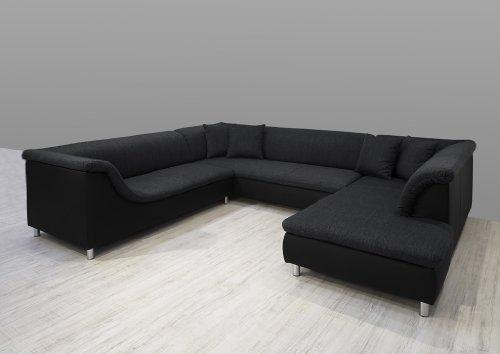 Dreams4Home Polsterecke Loree; Sofa Wohnlandschaft Ecksofa Couch XXL U-Form grau schwarz, Aufbauvariante:Ottomane rechts davorstehend