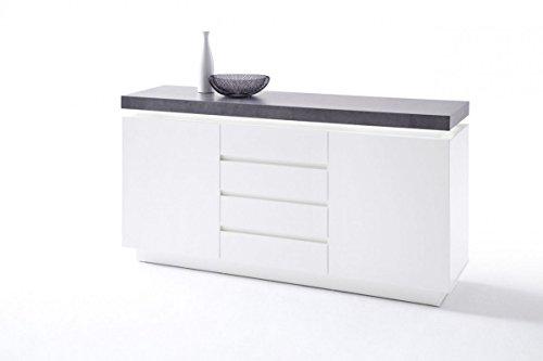 Dreams4Home Sideboard 'Sharun' - Schrank, Kommode, Konsole, Sideboard, Highboard, Aufbewahrung, B/H/T: 150 x 40 x 80 cm, in matt weiß lackiert, Beton Dekor, inkl. Infrarot LED