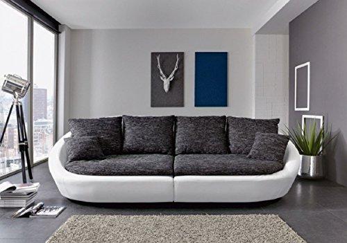 Dreams4Home Ultrasofa 'Bari' - Sofa, Couch, Polstergarnitur, Clubsofa, Loungesofa, Relaxsofa, Megasofa, Bigsofa, Wohnzimmer, Polstersofa, Stellmaß BxT: 280 x 131 cm, in schwarz-grau und Kunstleder schneeweiß