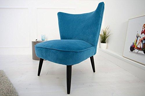 DuNord Design Sessel Polsterstuhl MARTA Samtstoff petrol blau Vintage Retro