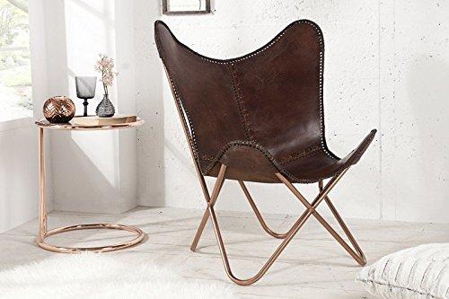 DuNord Design Sessel Stuhl TEXAS echt Leder braun Loungesessel Esszimmer Butterfly Klappstuhl Loungesessel