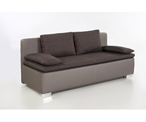 duett braun grau schlafsofa sofa 2 sitzer bettsofa couch mit bettfunktion inkl aller kissen. Black Bedroom Furniture Sets. Home Design Ideas