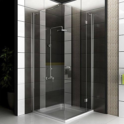 echtglas eck dusche duschkabine rahmenlos glasdusche ca 90 x 90 x 200 cm alpenberger. Black Bedroom Furniture Sets. Home Design Ideas