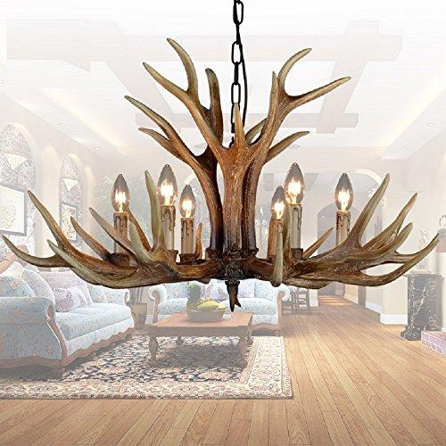 EFFORT INC Antlers Vintage-Stil Harz 6 Licht Kronleuchter, amerikanische ländliche Landschaft Geweih Kronleuchter, Wohnzimmer, Bar, Cafe, Esszimmer Hirschhorn Kronleuchter