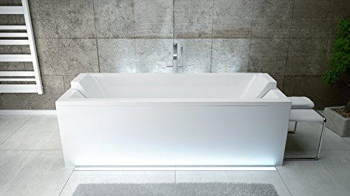 EXCLUSIVE LINE Rechteck Acryl Badewanne QUADRO 165x75 mit Ablauf Viega Simplex Schürze und 2x Kopfstütze