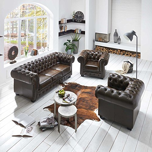 echt leder chesterfield garnitur set 3 1 1 sofa antik braun sessel und 3 sitzer couch m bel24. Black Bedroom Furniture Sets. Home Design Ideas