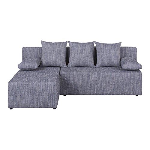 Eckcouch Ecksofa Sofa Couch LASSE mit Schlaffunktion, Strukturgewebe in grau, mit Kissen, Bettkasten