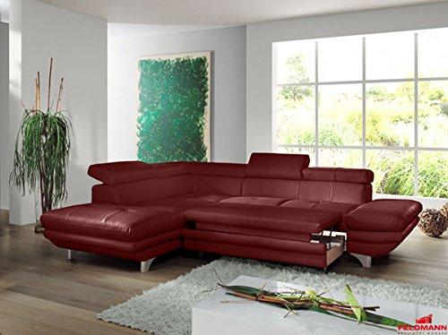 ecksofa 60566 polsterecke echt leder rot ausrichtung und ausstattung w hlbar ausrichtung. Black Bedroom Furniture Sets. Home Design Ideas