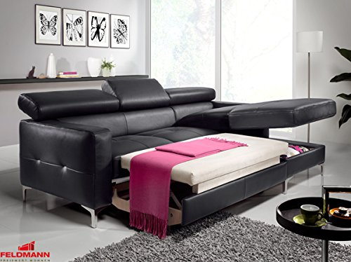 ecksofa 60567 polsterecke echt leder dickleder schwarz. Black Bedroom Furniture Sets. Home Design Ideas