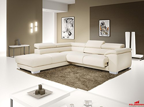 ecksofa polsterecke echt leder dickleder schneewei. Black Bedroom Furniture Sets. Home Design Ideas